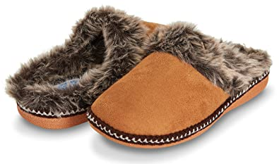 a0b96f30a Floopi Womens Indoor Outdoor Aztec Two Tone Fur Lined Clog Slipper W/Memory  Foam (
