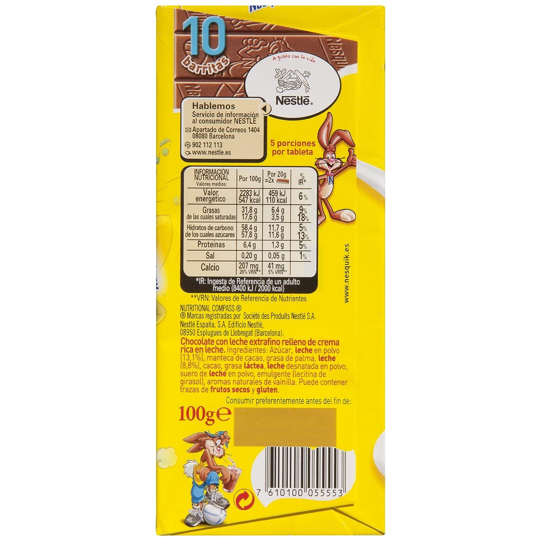 Nestlé Chocolate con leche extrafino relleno de crema rica en leche - 100 gr: Amazon.es: Alimentación y bebidas