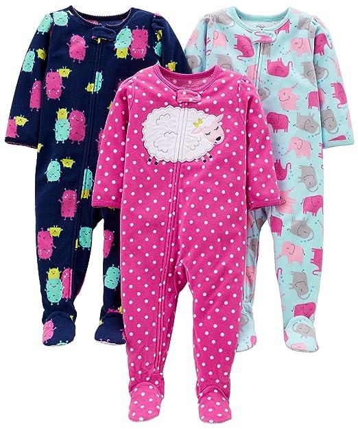 3e0a8477855 Simple Joys by Carter s Girls  - Conjunto de 3 Pijama de Forro Polar  Resistente al