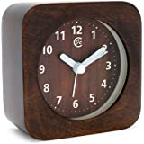 JCC Arabic Numerals Square Nature Wood Non Ticking Sweep Analog Quartz Bedside Desk Alarm Clock with Ascending Louder Alarm, Snooze and Night Light Feature, Battery Operated (Brown Wood)