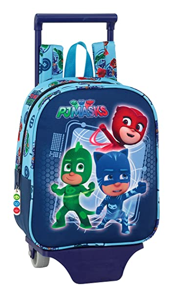 Safta PJ Masks Hero - Mochila de guardería con Carro extraíble, Trolley 6117172800