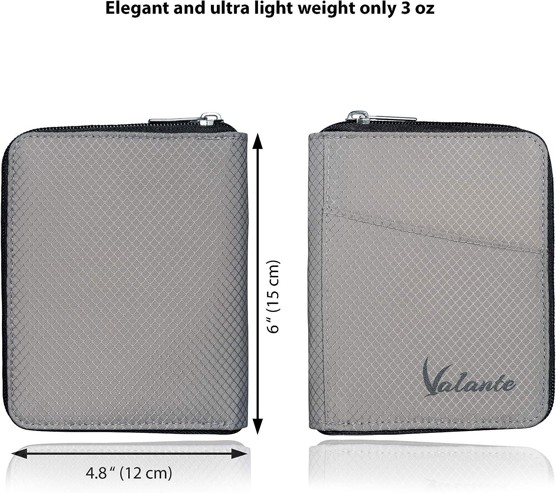 Valante Pocket Size Travel Passport Wallet Ultra Light RFID Protected Gray