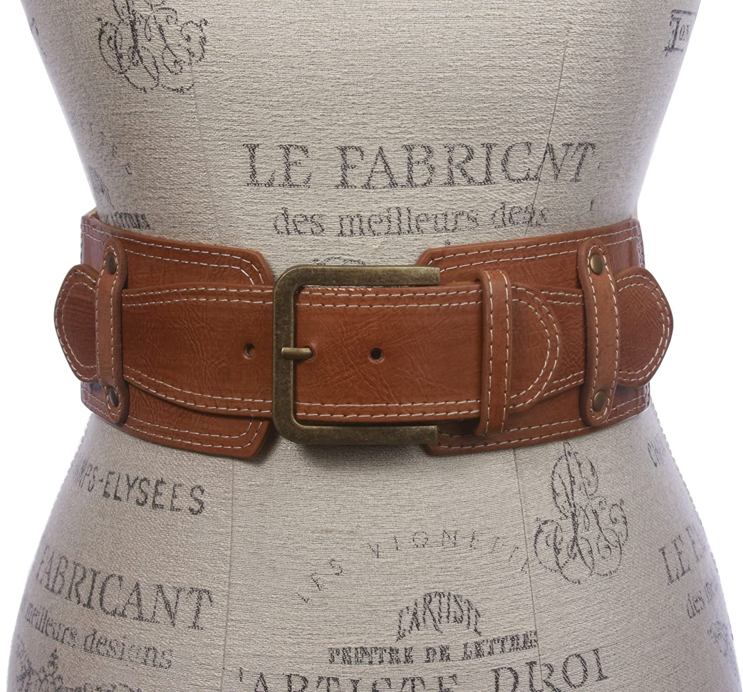 "3"" Ladies High Waist Fashion Stretch Belt with stitching Detailing"