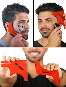 RevoBeard & RevoHair - Beard Shaping & Haircut Tool - For Hairline Lineup, Edge up - Template/Stencil for Trimming Beard, Mustache, Goatee, Neckline - Great Barber Supplies - Men's Grooming Kit