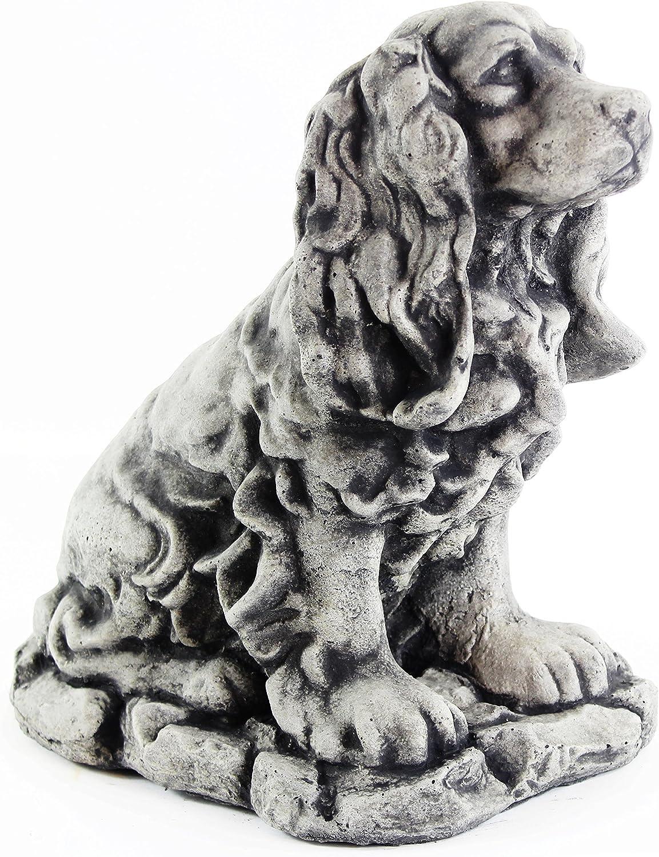 Cocker Spaniel Dog Sculpture Garden Statue Puppy Outdoor Cement Dog Figure Doggy Figurine