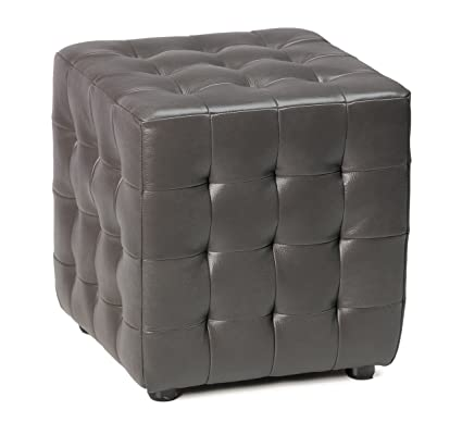 Miraculous Cortesi Home Moda Tufted Cube Bonded Leather Ottoman Gunmetal Gray Theyellowbook Wood Chair Design Ideas Theyellowbookinfo