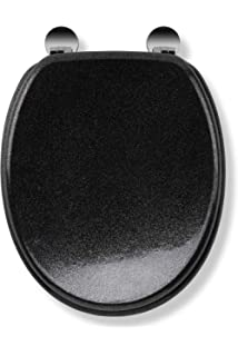 Croydex Black Glitter Toilet Seat Wood Black 445 X 38 X