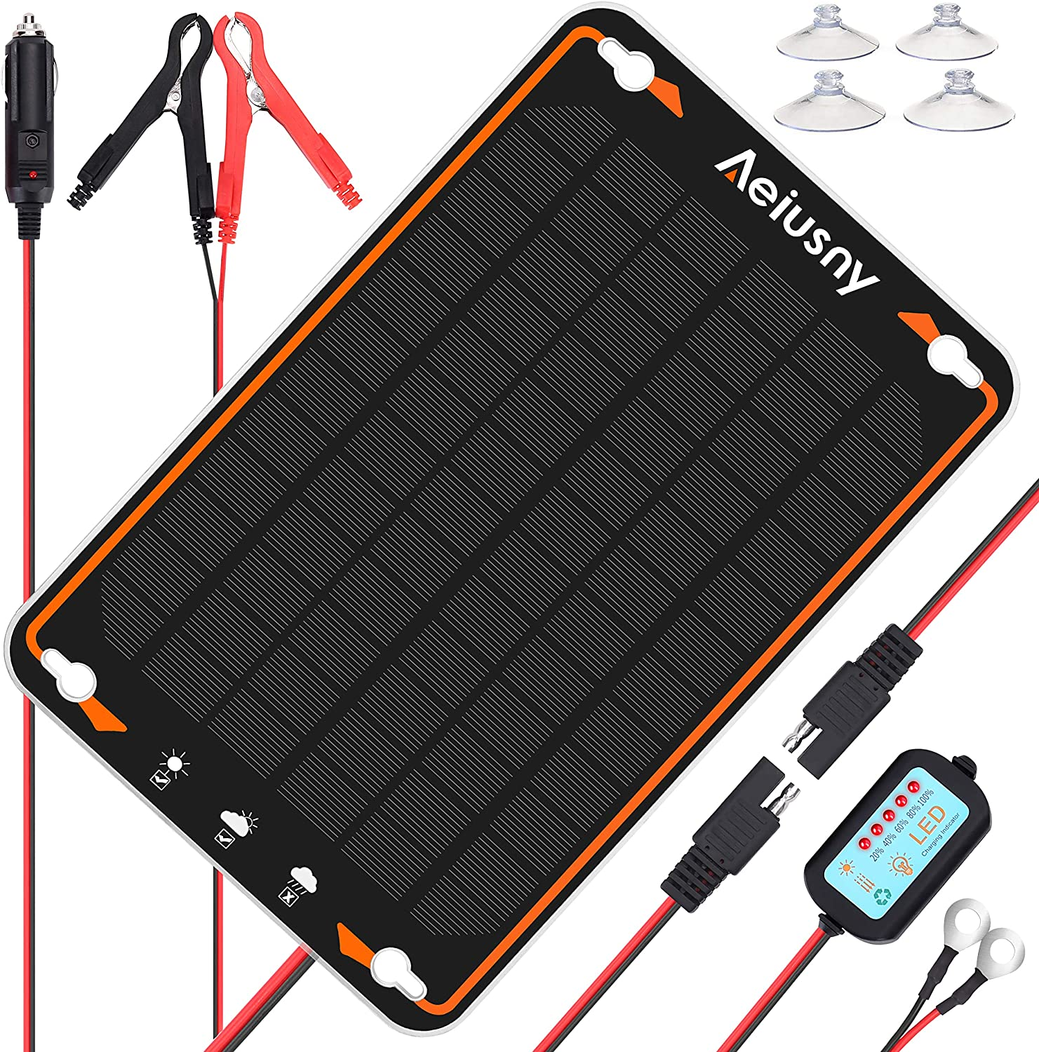 Aeiusny Solar Car Battery Trickle Charger & Maintainer