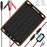Aeiusny 12V Solar Car Battery Trickle Charger & Maintainer 5W Solar Panel Power Kit Portable Backup for Automotive RV Marine