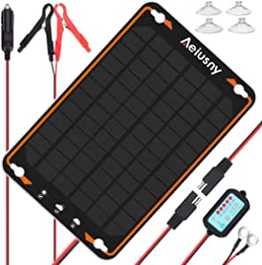 Aeiusny 12V Solar Car Battery Trickle Charger & Maintainer 5W Solar Panel Power Kit Portable Backup for Automotive RV Marine Boat Motorcycle Truck Trailer Tractor Powersports Snowmobile Farm Equipment
