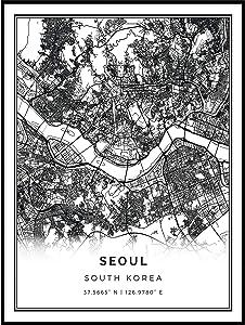 Squareious Seoul map Poster Print   Modern Black and White Wall Art   Scandinavian Home Decor   South Korea City Prints Artwork   Fine Art Posters 16x20