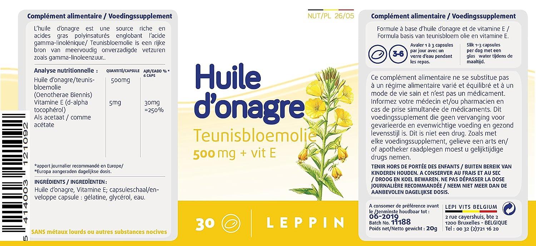 Leppin - Aceite de onagro 500 mg + Vit E 30 Cápsulas aceites (- Equilibre femenino - Suplemento naturales: Amazon.es: Salud y cuidado personal