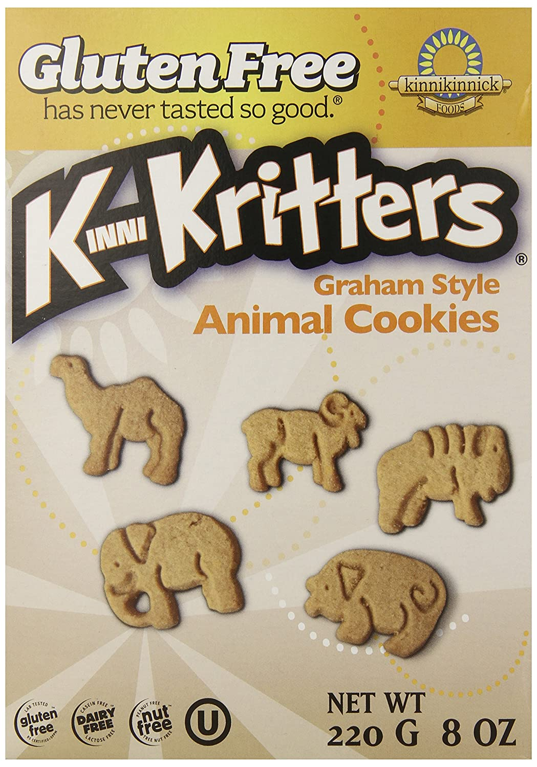 Kinnikinnick Gluten Free Animal Graham Cookies, 8 Ounce (Pack of 6)