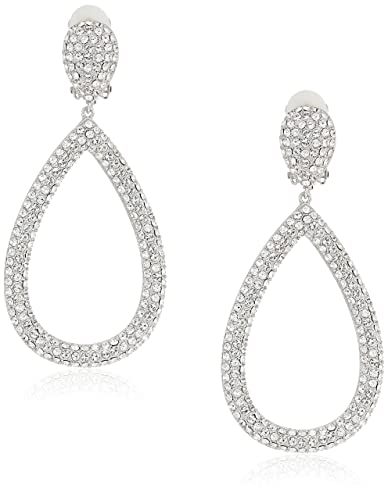 ce9afe058 Amazon.com: Nina Women's E-Alayna Clip On Earrings, Rhodium/White, 0 ...