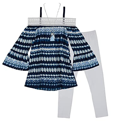 4a355988a4e Amazon.com  Amy Byer Girls  Big Shoulder Top and Legging Outfit Set   Clothing