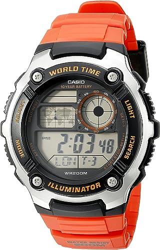 Casio pour homme Ae 2100 W 4avcf Digital 10 ans batterie Affichage numérique à quartz Orange montre