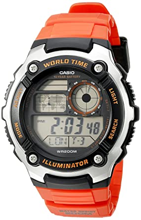 d40226626 Image Unavailable. Image not available for. Color: Casio Men's AE-2100W-4AVCF  Digital 10-Year Battery Digital Display Quartz Orange