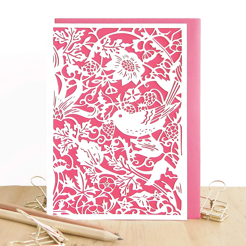 Bird and flower card Strawberry thief card Daughter birthday card William Morris birthday card Birthday card for wife Mum birthday card