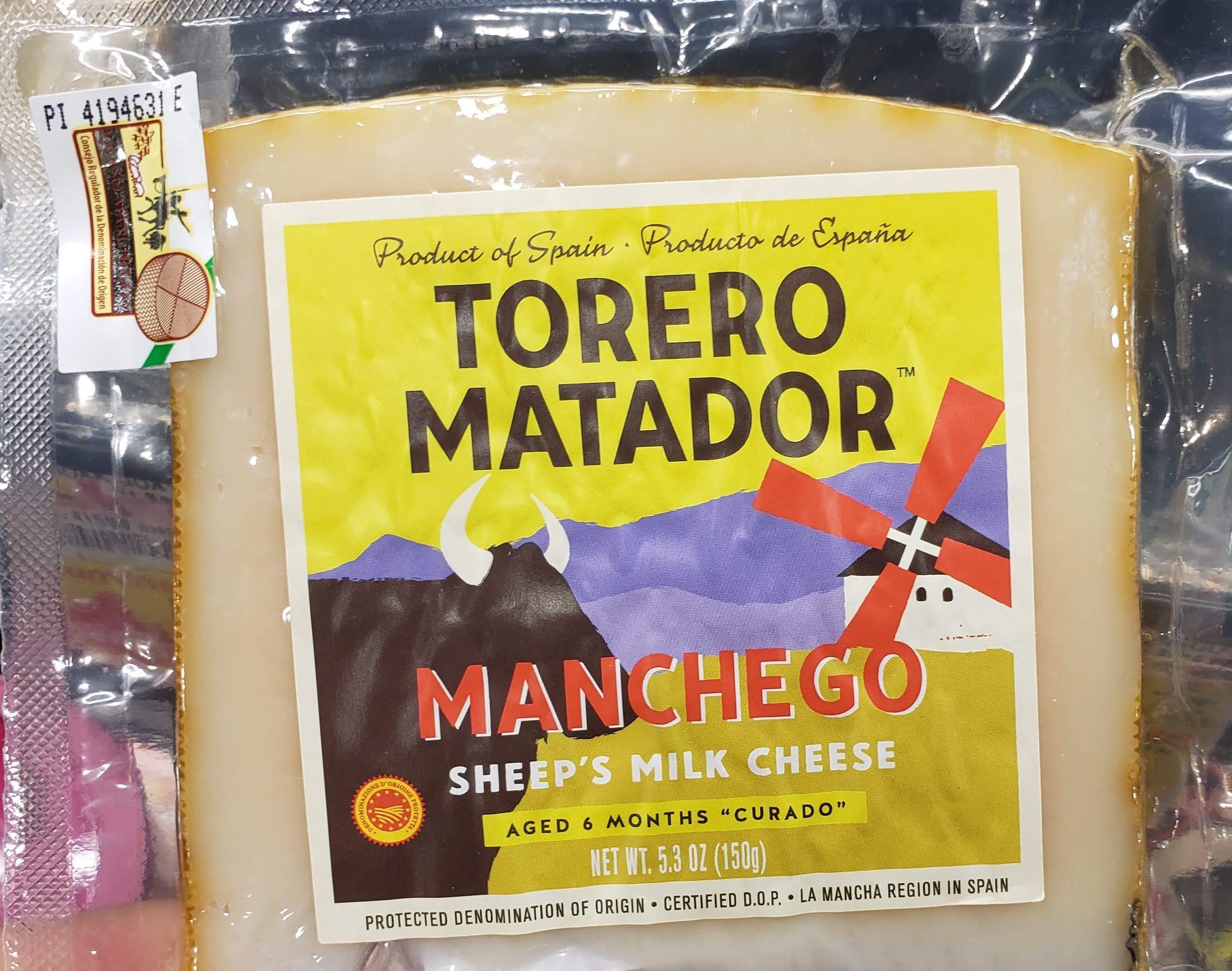 Torero Matador Manchego Sheep's Milk Cheese Aged for 6 Months Curado net 5.3oz Product of Spain