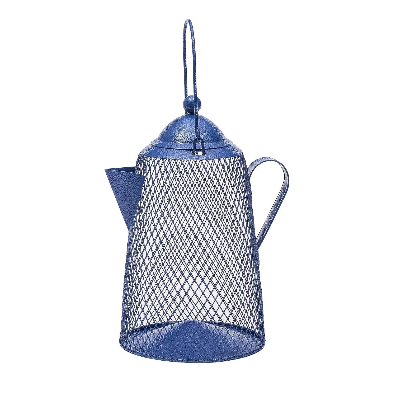 Opus CFE101 Vogelfutterspender Kaffekanne aus Metallgitter, blau