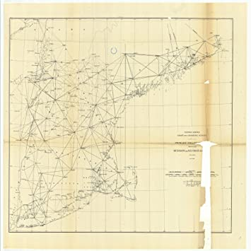 18 x 24 canvas 1881 new jersey old nautical map drawing chart of primary triangulation between