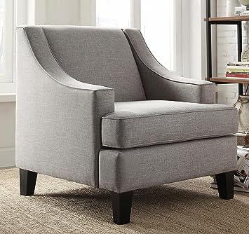 Amazon.com: Moderno Gris tapizado con tela de lino Swoop Arm ...