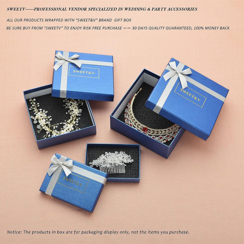 SWEETV Royal Wedding Crown CZ Crystal Tiara for Women Bridal Headpiece Pageant Hair Jewelry, Silver+Clear SVCHG160021C
