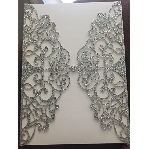 50 sets light gold glitter paper laser cut vintage wedding invitations cards hollow floral exquisite carving