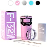 Pink Powder Coated 20 Oz. F-32 Stainless Steel Tumbler Premium Bundle - Blue Black White Silver available - Splash Proof Lid + Stainless Steel Straw + Cleaning Brush + Pink Gift Box + Manual