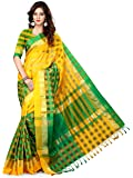 Asavari Women's Blended Saree With Blouse Piece (Nsm16-Lc-Grn-Yel_Green & Yellow)