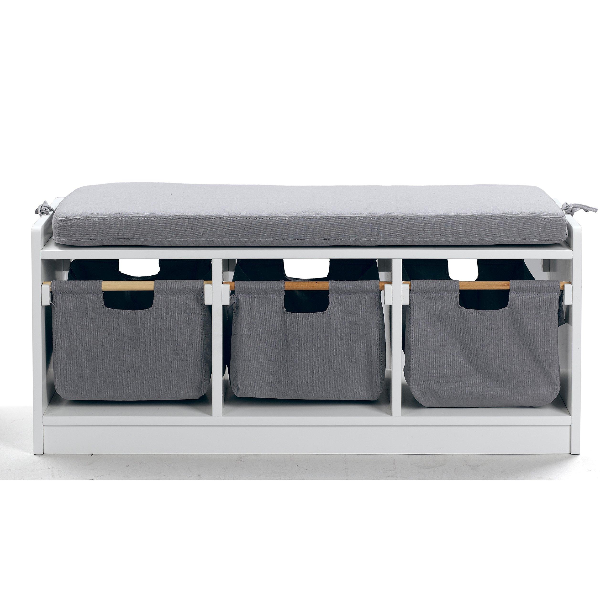 WonkaWoo Deluxe Children Toy Storage Bench, Kids Toy Storage (White)