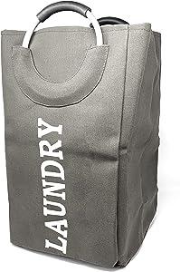 allgala Canvas Like Laundry Bag with Aluminium Handle-Grey-LB80502