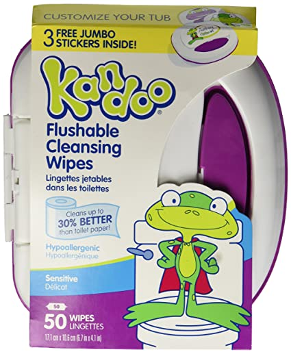 Kandoo Flushable Sensitive Toddler Wipes Tub 50Ct. by Nehemiah