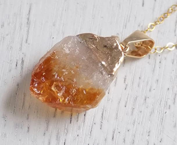 Amazon raw citrine necklace orange yellow rough citrine raw citrine necklace orange yellow rough citrine pendant citrine crystal gemstone necklace aloadofball Choice Image