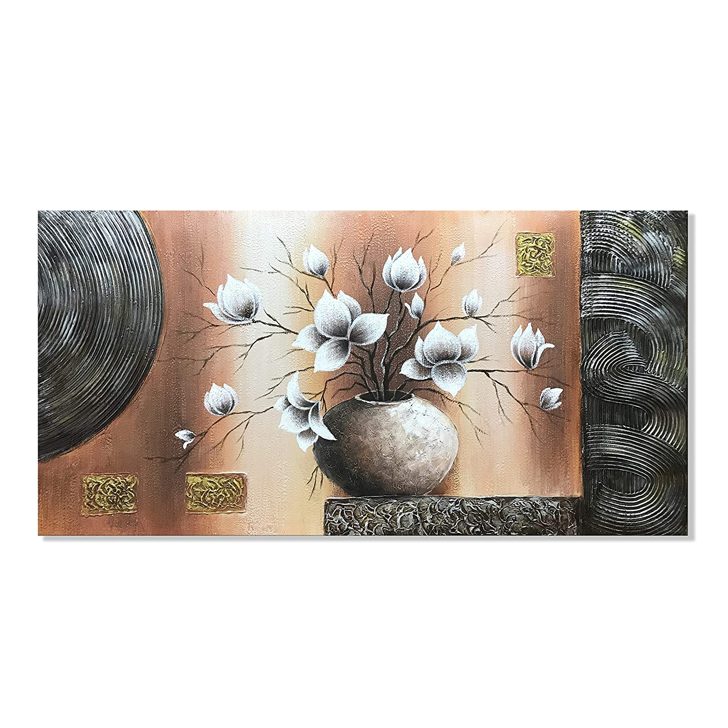 zoinart 3D Oil Painting 24x48inch 100% Hand Painted Large Abstract White Magnolia Flowers Paintings Modern Canvas Wall Art Floral Artwork for Home Walls Ready for Hanging