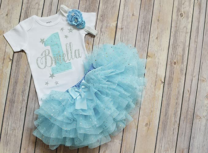 2da2adc4f Amazon.com: first birthday outfit girl,twinkle twinkle little star birthday  outfit in sparkly blue and silver,cake smash outfit girl,1st birthday tutu:  ...