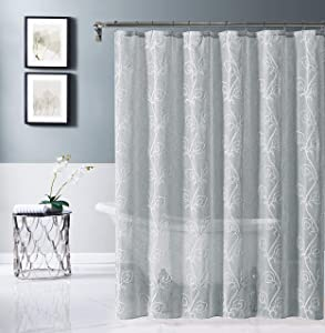 Dainty Home Stella Embroidered Fabric Shower Curtain, Silver/White