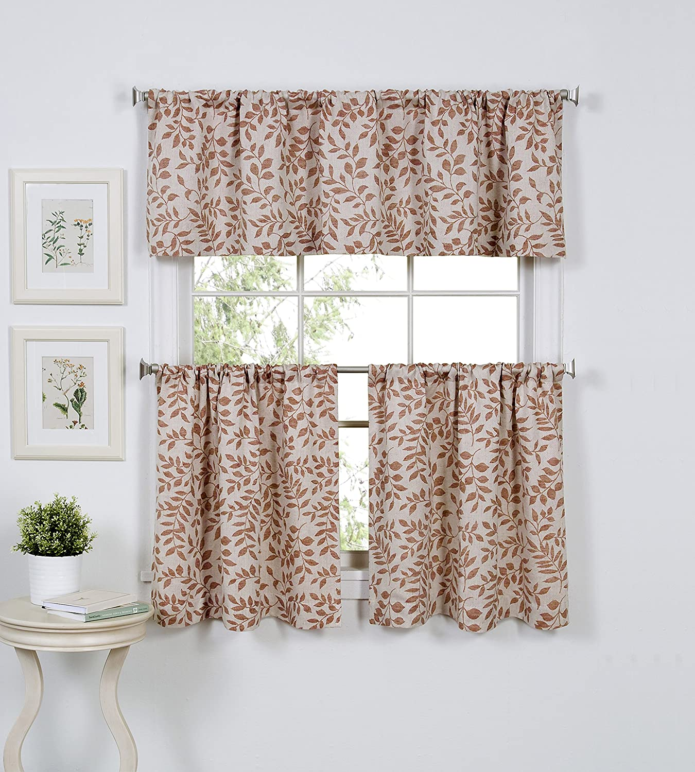 """Elrene Home Fashions Serene Window Tier, 30""""x24"""" (Set of 2 60""""x15"""" (1 Valance), Spice Red, 2 Count"""