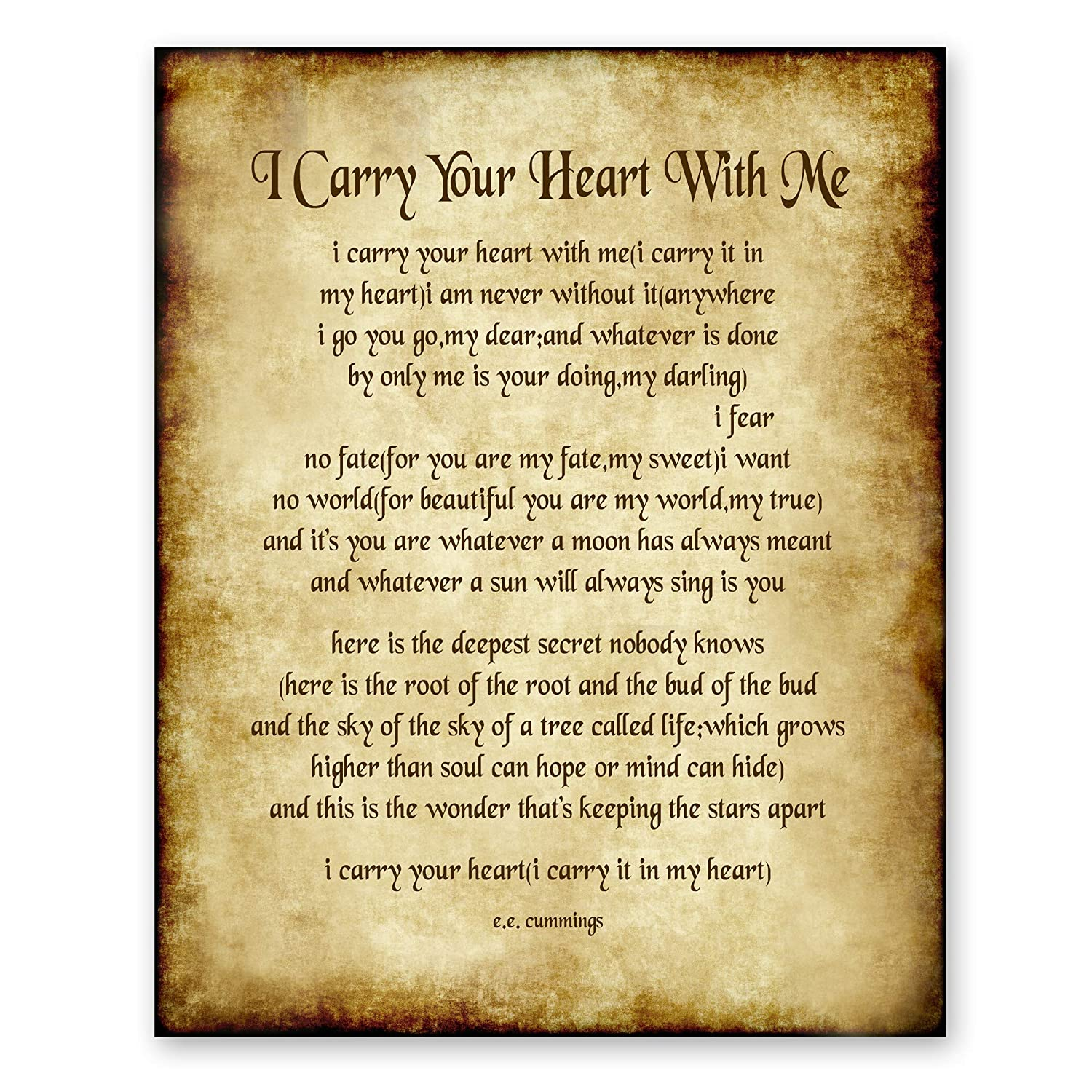 I Carry Your Heart With Me Poem By Ee Cummings Home Decor Wall Art Poetry Gift 8x10 Antique Style Print