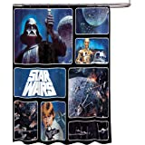 "Star Wars Classic Saga 72"" x 72"" Fabric Shower Curtain With Darth Vader, Luke Skywalker, R2-D2 & C-3PO"