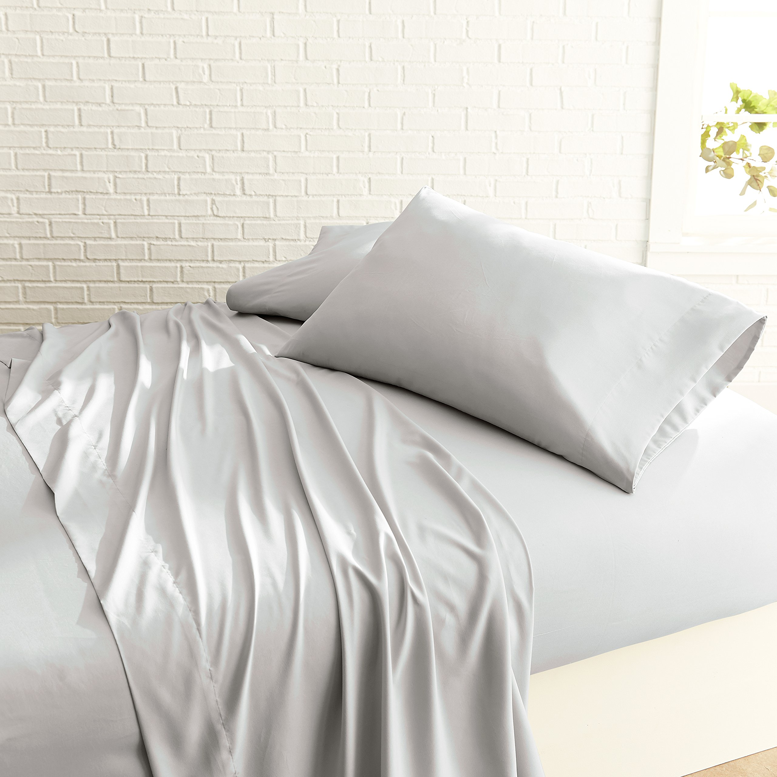 Luxurious Garment Washed 1500 Spa Series Super Soft 4 Piece Sheet Set, Flat and Fitted Sheets