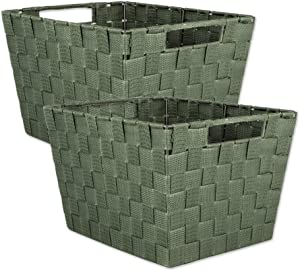 """DII Durable Trapezoid Woven Nylon Storage Bin or Basket for Organizing Your Home, Office, or Closets (Large Basket - 13x15x10"""") Olive Green - Set of 2"""