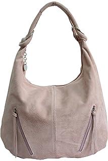 525fa057c1747 AMBRA Moda Damen Ledertasche Shopper Wildleder Handtasche Schultertasche  Beuteltasche Hobo Tasche Groß WL822