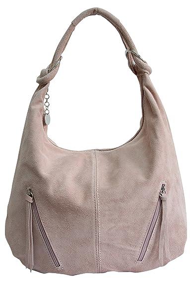 82f743a266e98 Damen Ledertasche Shopper Wildleder Handtasche Schultertasche Beuteltasche  Hobo Tasche Groß WL822 (Altrosa)