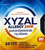 Xyzal Allergy 24 Hour, Allergy Tablet, 80 Count, All Day and Night Relief from Allergy Symptoms Including Sneezing, Runny Nose, Itchy Nose or Throat, Itchy, Watery Eyes