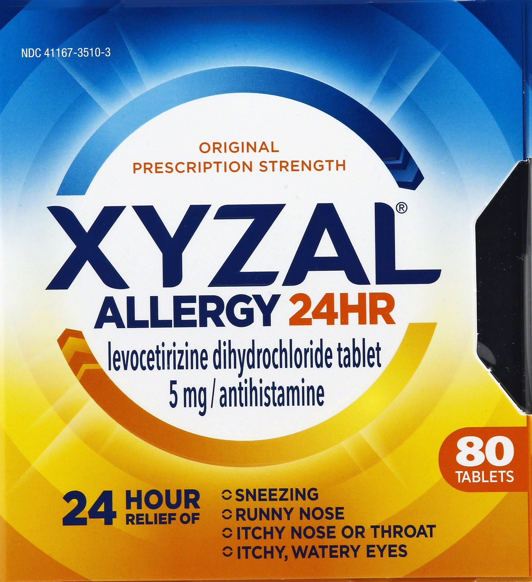 Xyzal Allergy 24 Hour, Allergy Tablet, 80 Count, All Day and Night Relief from Allergy Symptoms Including Sneezing, Runny Nose, Itchy Nose or Throat, Itchy, Watery Eyes by Xyzal