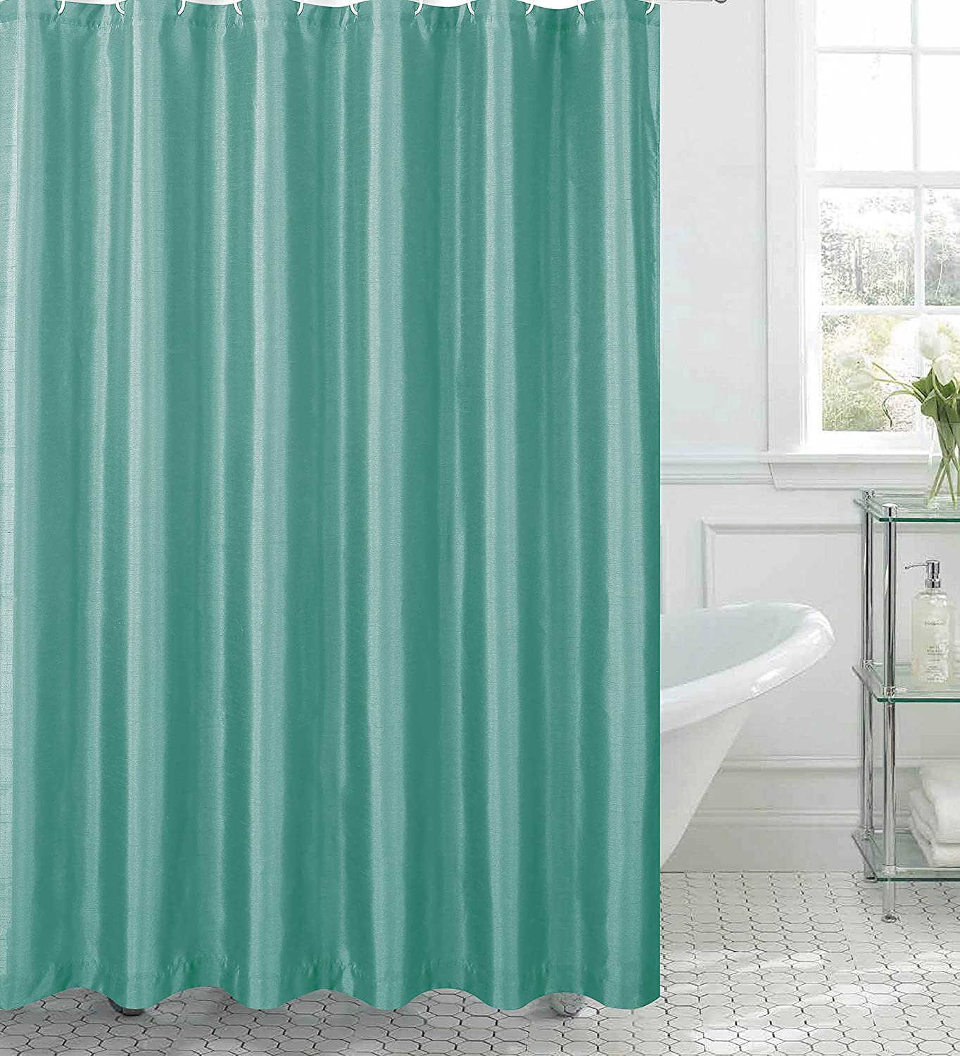 Amazon.com: Jane Faux Silk Shower Curtain with 12 Metal Rings, Aqua ...