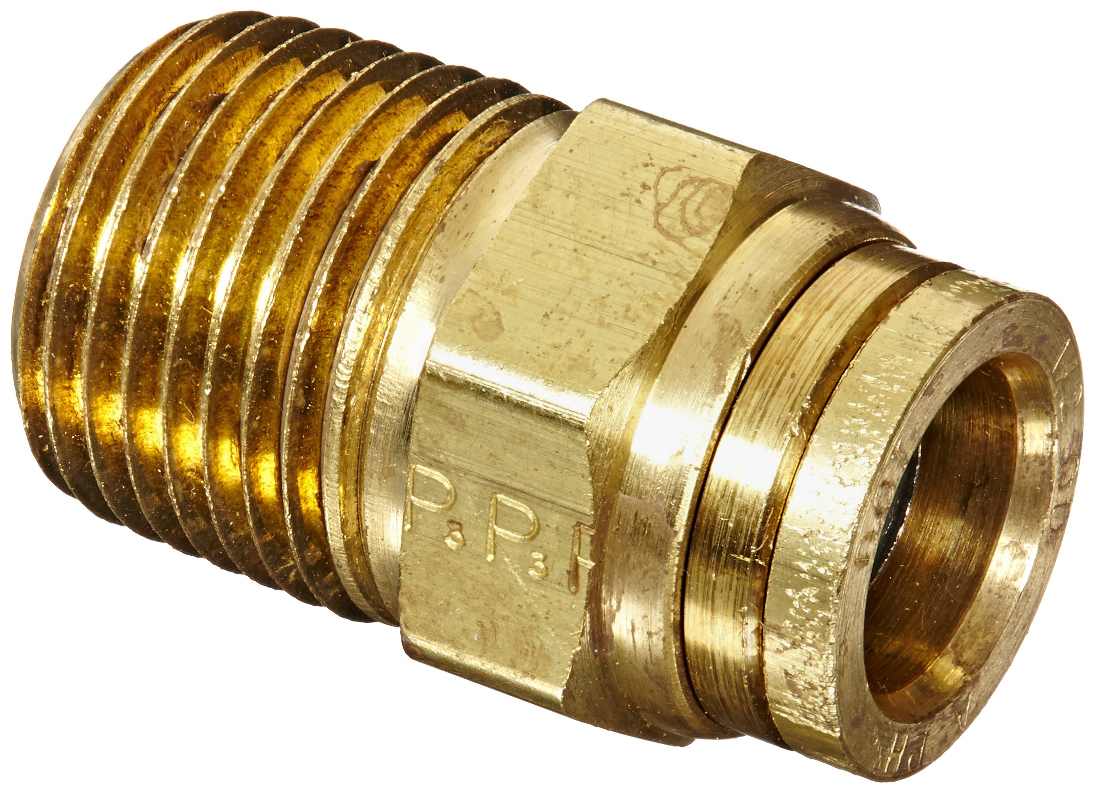 Legris 3115 62 22DOT Nylon & Nickel-Plated Brass Push-To-Connect Fitting, Complies with DOT, Inline Connector, 1/2'' Tube OD x 1/2'' NPT Male