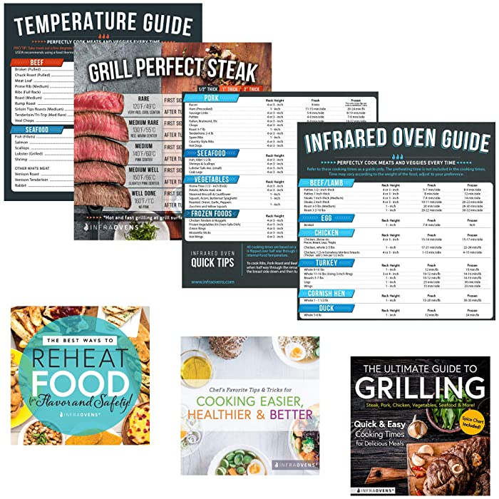 Infrared Convection Accessories for Quick Reference Compatible with NuWave Oven Pro, Pro Plus, Elite & Primo - Cooking Times Magnets, Cookbooks, Cheat Sheets, Steak Doneness Guide & Conversion Charts