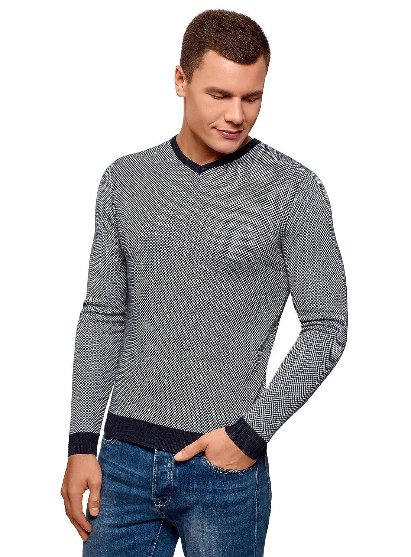 oodji Ultra Hombre Suéter Texturizado con Acabado en Contraste
